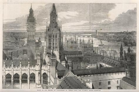 The View from the Victoria Tower of the Houses of Parliament, London--Stretched Canvas Print