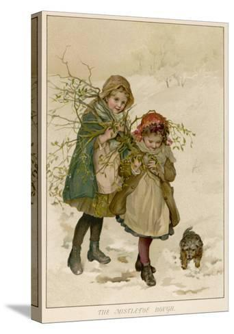 Two Girls Accompanied by a Small Dog Gather Holly and Mistletoe--Stretched Canvas Print
