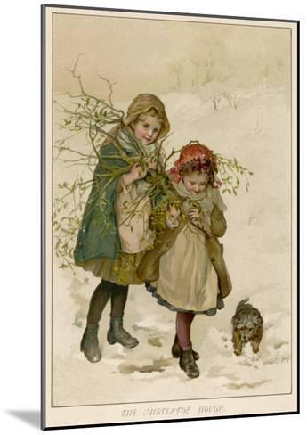 Two Girls Accompanied by a Small Dog Gather Holly and Mistletoe--Mounted Giclee Print