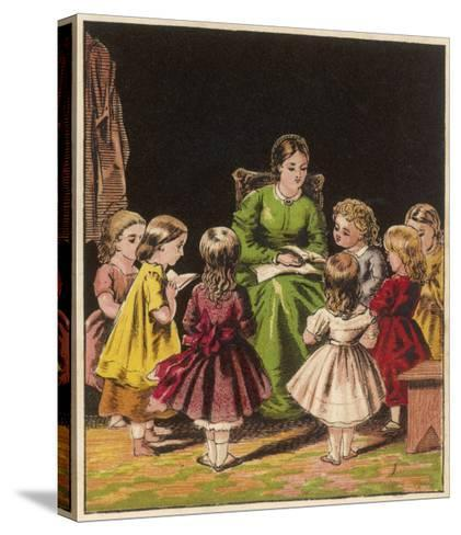 The Teacher Reads an Improving Story to the Children--Stretched Canvas Print
