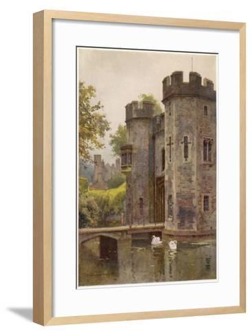 Wells, Somerset: the Bishop's Palace Gatehouse and Drawbridge--Framed Art Print