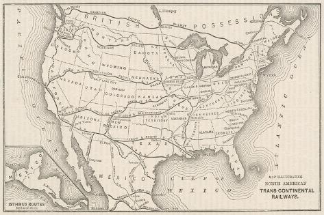 USA Railway Map--Stretched Canvas Print