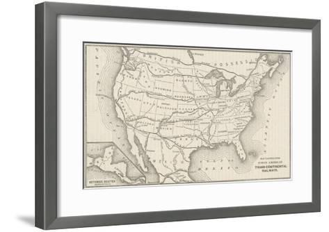 USA Railway Map--Framed Art Print