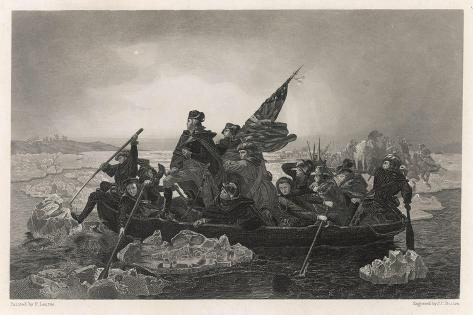 Washington and His Army Cross the Delaware River, Prior to the Battle of Trenton--Stretched Canvas Print