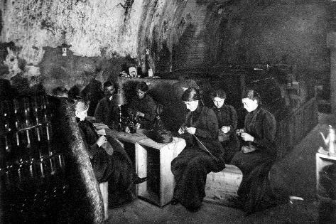 Women Knitting in a Wine-Cellar in a 'Much Bombarded' Rheims--Stretched Canvas Print