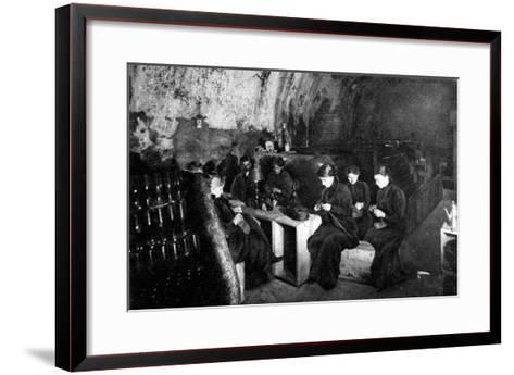 Women Knitting in a Wine-Cellar in a 'Much Bombarded' Rheims--Framed Art Print