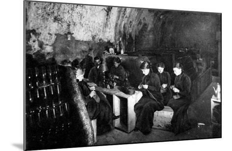 Women Knitting in a Wine-Cellar in a 'Much Bombarded' Rheims--Mounted Giclee Print