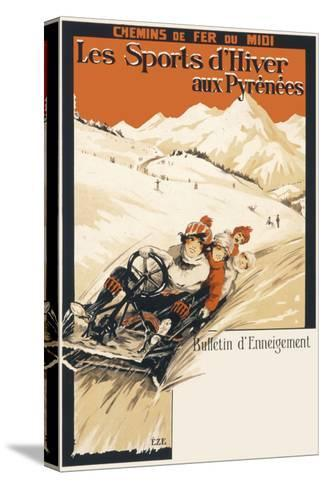 Winter Sports in the Pyrenees Poster--Stretched Canvas Print