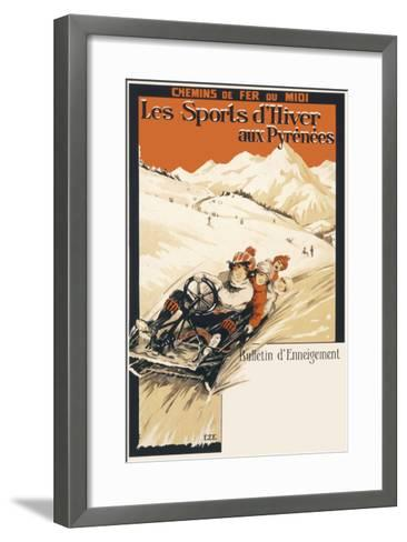 Winter Sports in the Pyrenees Poster--Framed Art Print