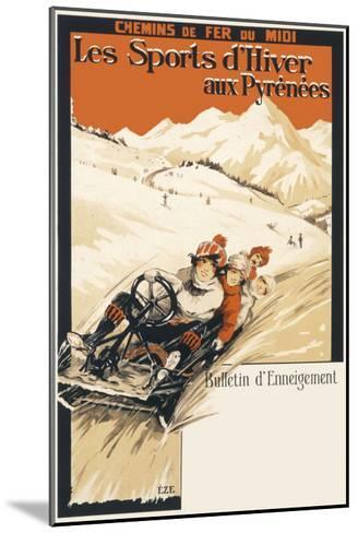 Winter Sports in the Pyrenees Poster--Mounted Giclee Print