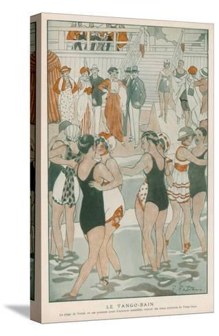 Women in their Swimsuits Dance the Tango-Bain at the Lido, Venice--Stretched Canvas Print