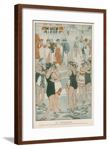 Women in their Swimsuits Dance the Tango-Bain at the Lido, Venice--Framed Art Print