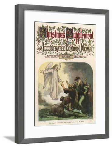 While the Shepherds Watch their Flock, the Angel Gabriel Tells Them That Jesus Has Been Born--Framed Art Print