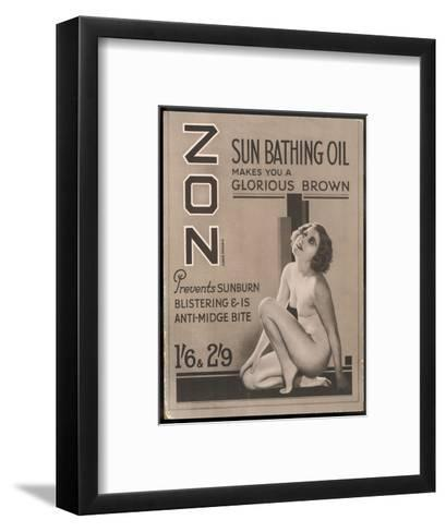Zon Sunbathing Oil Which Makes You 'A Glorious Brown'--Framed Art Print