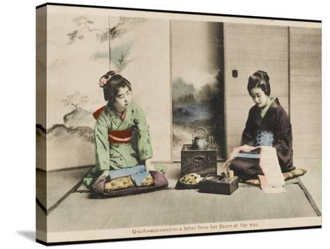 A Japanese Lady and Her Maidservant--Stretched Canvas Print