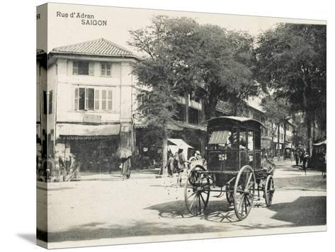 Adran Street - Saigon with Horse Cab--Stretched Canvas Print