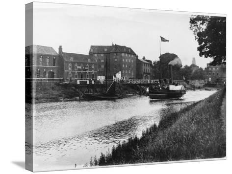 A Paddle Steamer Carries Excursionists on the River Witham at Boston, Lincolnshire, England--Stretched Canvas Print