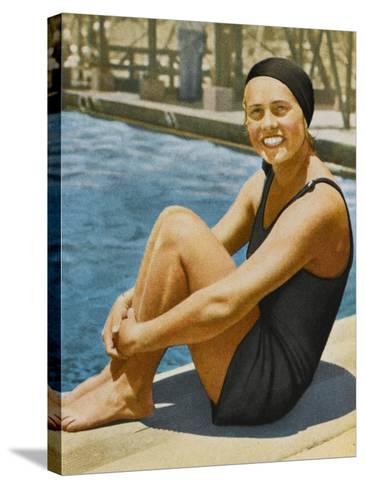 """Miss Olympia"" - Ingeborg Sjoquist, Swedish Swimmer--Stretched Canvas Print"