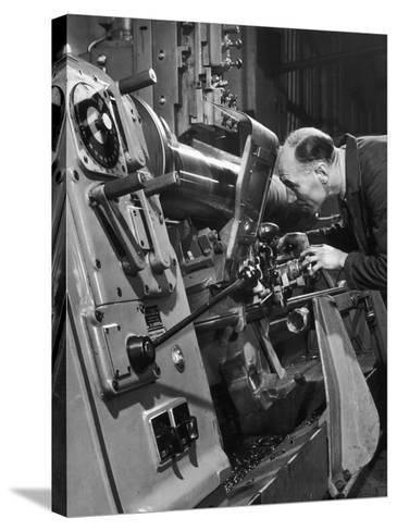 A Lathe Operator at Work-Heinz Zinram-Stretched Canvas Print