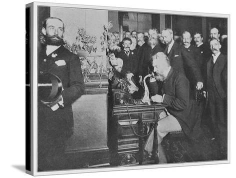Alexander Graham Bell Inaugurates the Chicago-New York Long Distance Line--Stretched Canvas Print