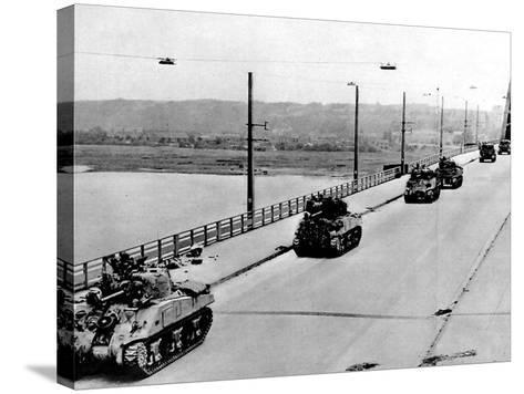 British Tanks on Nijmegen Bridge; Second World War, 1944--Stretched Canvas Print