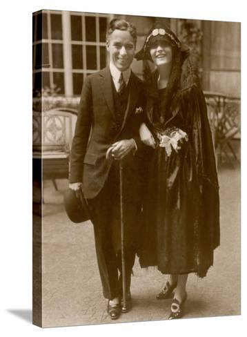 Charlie Chaplin (Sir Charles Spencer) English Comedian and Actor with Pola Negri--Stretched Canvas Print