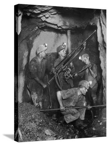 Cornish Tin Miners Below Ground--Stretched Canvas Print