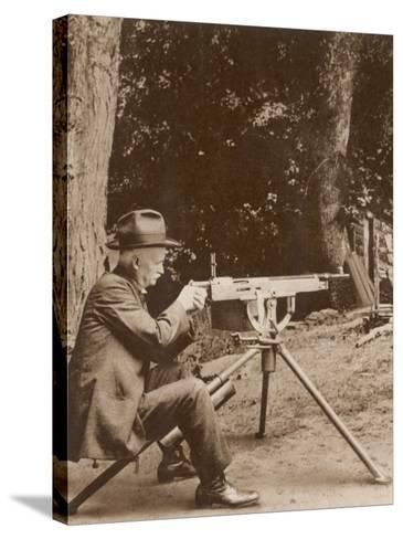 Browning American Inventor John Moses Browning with One of His Machine Guns--Stretched Canvas Print