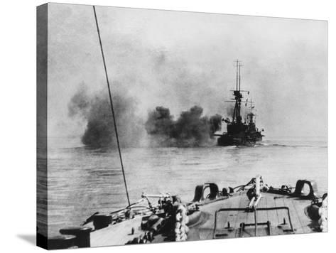 French Battleship in Action in the Dardanelles During World War I-Robert Hunt-Stretched Canvas Print