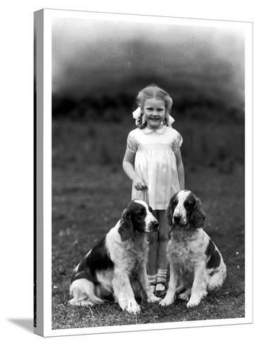 Child and Spaniel--Stretched Canvas Print