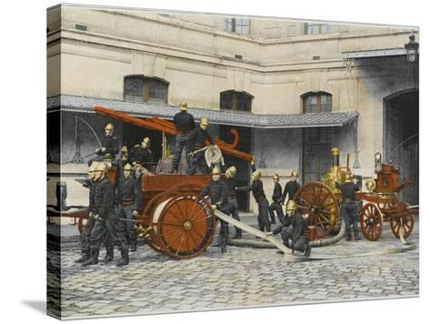 French Sapeurs-Pompiers Manoeuvre their Engines at the Scene of a Fire--Stretched Canvas Print