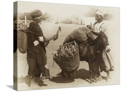 Egypt - Buying Corn from a Donkey's Panniers--Stretched Canvas Print