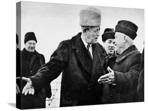 Harold Macmillan and Nikita Khrushchev--Stretched Canvas Print