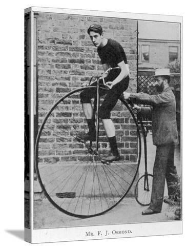 F J Osmond, Noted Racing Cyclist, on His Machine--Stretched Canvas Print