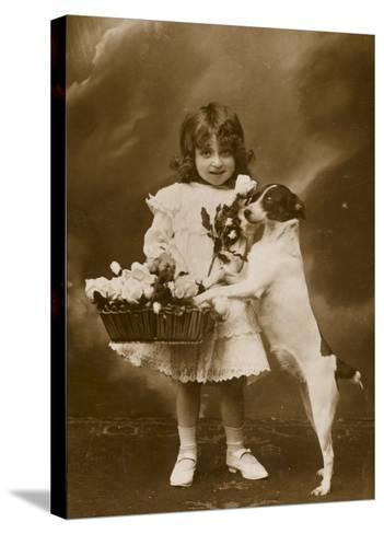 Girl and Her Pet Dog--Stretched Canvas Print