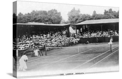 Ladies' Singles Match on Centre Court at Wimbledon--Stretched Canvas Print
