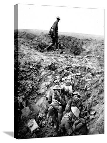New Zealand Soldiers Resting in Shell-Hole--Stretched Canvas Print