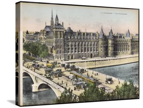 La Conciergerie, with the Pont Au Change Full of Traffic--Stretched Canvas Print