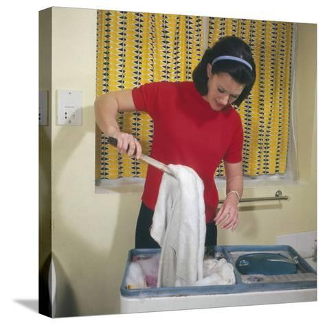 Housewife Using Twin Tub--Stretched Canvas Print