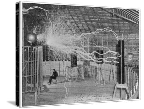 Nikola Tesla Produces Artificial 'Lighting'--Stretched Canvas Print