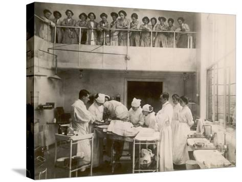 Nurses Watch a Surgical Demonstration from a Balcony--Stretched Canvas Print