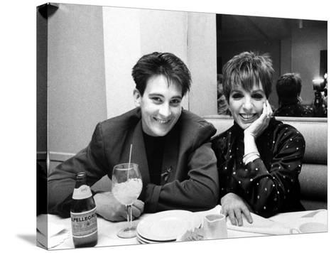 Country/Western Singer KD Lang with Actress Liza Minnelli at a Party to Celebrate Lang's Concert--Stretched Canvas Print