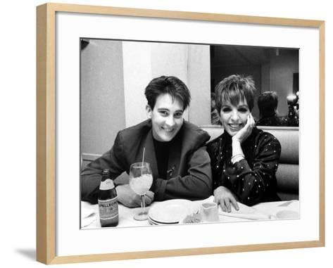 Country/Western Singer KD Lang with Actress Liza Minnelli at a Party to Celebrate Lang's Concert--Framed Art Print