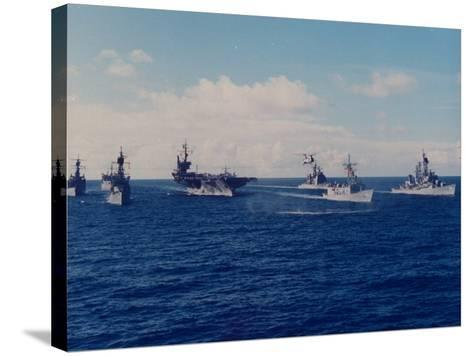 US Battle Group America Led by Aircraft Carrier in Red Sea, Deploying in Desert Shield Gulf Crisis-Gary Rice-Stretched Canvas Print