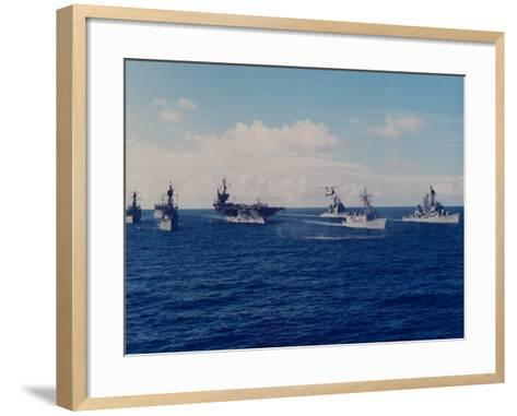 US Battle Group America Led by Aircraft Carrier in Red Sea, Deploying in Desert Shield Gulf Crisis-Gary Rice-Framed Art Print