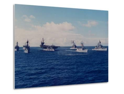 US Battle Group America Led by Aircraft Carrier in Red Sea, Deploying in Desert Shield Gulf Crisis-Gary Rice-Metal Print