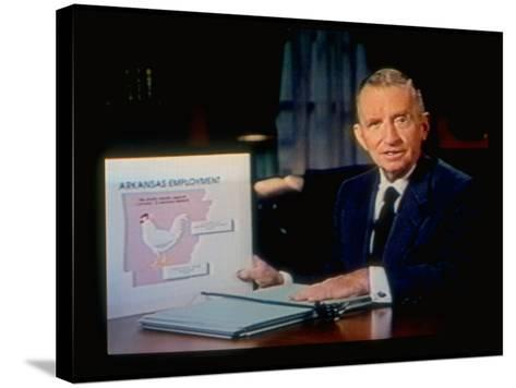 TX Magnate Ross Perot with AR State Employment Record Chart, Attacking Candidate Bill Clinton-Ted Thai-Stretched Canvas Print
