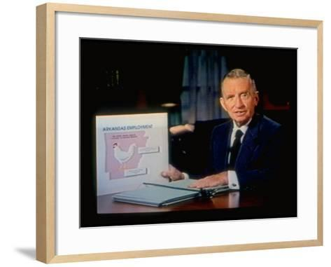 TX Magnate Ross Perot with AR State Employment Record Chart, Attacking Candidate Bill Clinton-Ted Thai-Framed Art Print