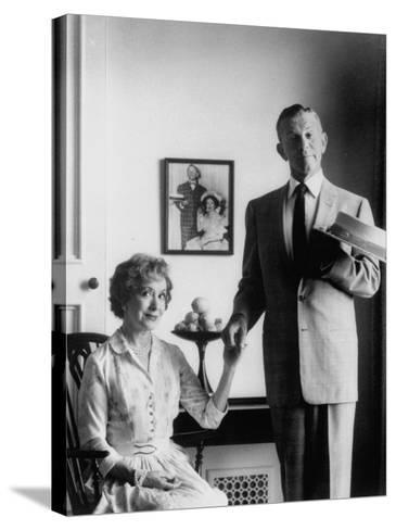 Comedian George Burns with Wife, Comedian Gracie Allen, in a Still for their TV Series-Allan Grant-Stretched Canvas Print