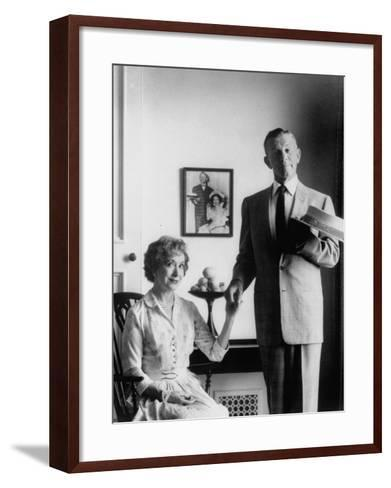Comedian George Burns with Wife, Comedian Gracie Allen, in a Still for their TV Series-Allan Grant-Framed Art Print